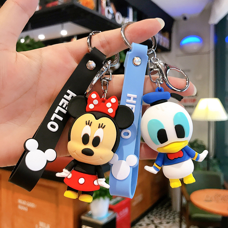 Cute Disney Children's Toy Keychains Mickey Mouse Donald Duck Key Chain Male And Female Gift Car Bag Pendant Accessories KeyRing image