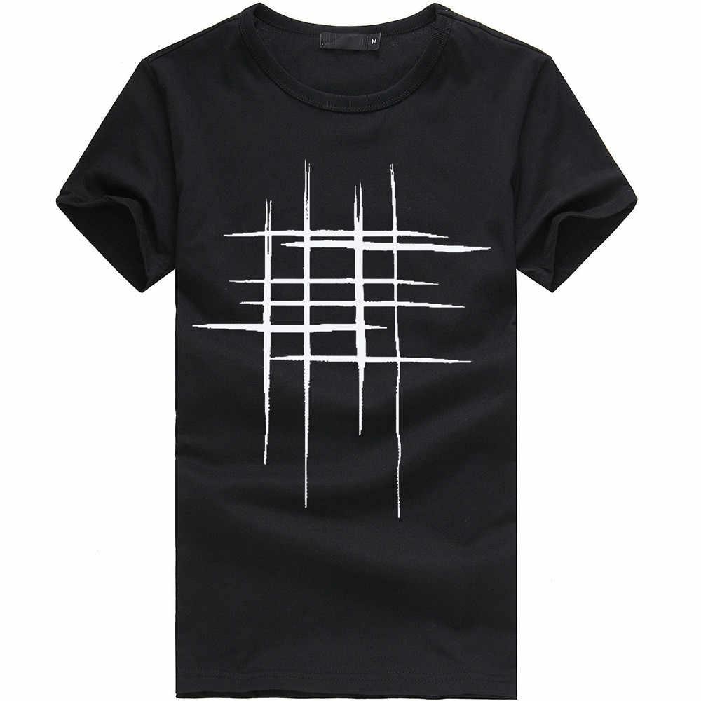 الرجال إلكتروني خط طباعة القطن تي شيرت حجم كبير بسيط س الرقبة قصيرة الأكمام Camisa موضة تنفس الراحة عادية سليم القمم # D
