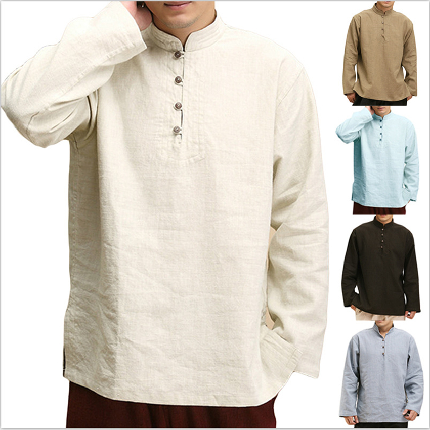 Chinese Style Tops Men 2020 Autumn Shirts Cotton Blouse Casual Full Sleeve Collar Vintage New Year Clothes Style Streetwear