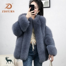 ZDFURS* real fur fox fur coat  design ladies winter really fox fur coat detachable real fur coat wome цена 2017