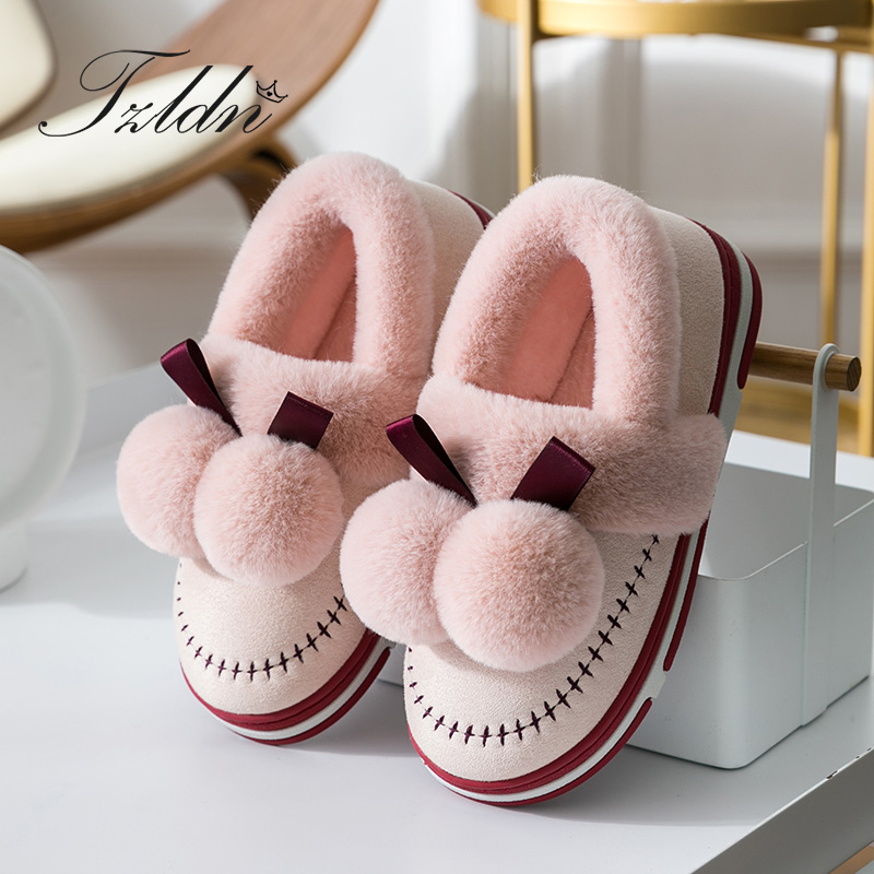 2019 TZLDN Winter Suede Upper Fur Plush Warm Slippers Indoor Home Non-slip Plush Warm Shoes Hair Ball Bow-knot Flannel Soft Shoe