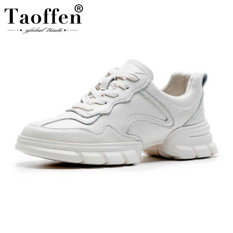 Taoffen Women Fahion Genuine Leather White Sneakers Shoes Woman Round Toe Vulcanized Shoes Casual Women Footwear Size 35-39