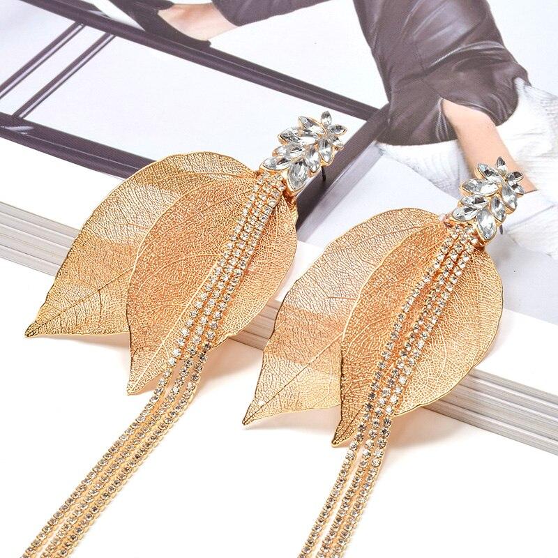 New Fancy Luxury Gold Thin Metal Leaf Long Earring High Quality Crystal Tassel Drop Earrings Fine Jewelry Accessories For Women|Drop Earrings| - AliExpress