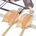 Новые модные роскошные золотые тонкие металлические длинные серьги в форме листа, высококачественные серьги-подвески с кристаллами, Изящн...