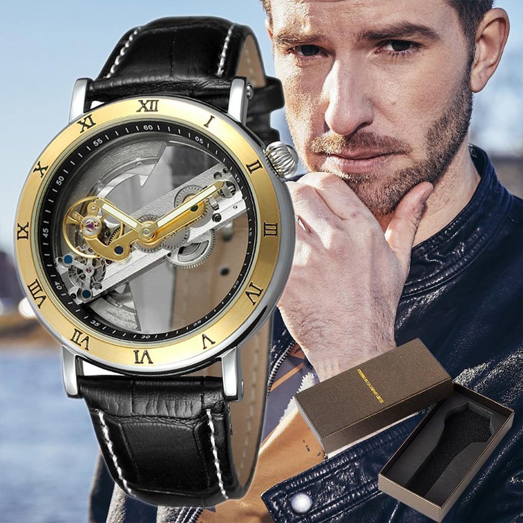 Style d'affaires hommes montre Unique cadran creux mode Sport horloge Quartz homme montres bracelet en cuir Relogio Masculino