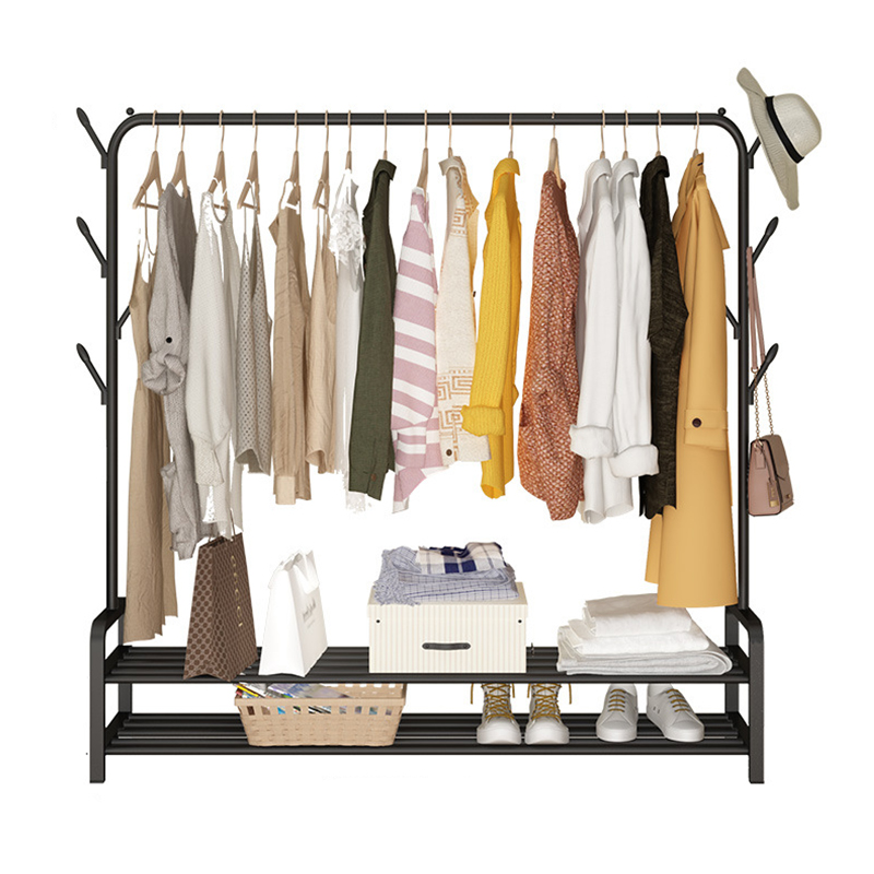 Russia Stock Single Rod Drying Rack Floor Stand Drying Rack Simple Clothes Storage Shelf  Folding Indoor Balcony Clothes Racks