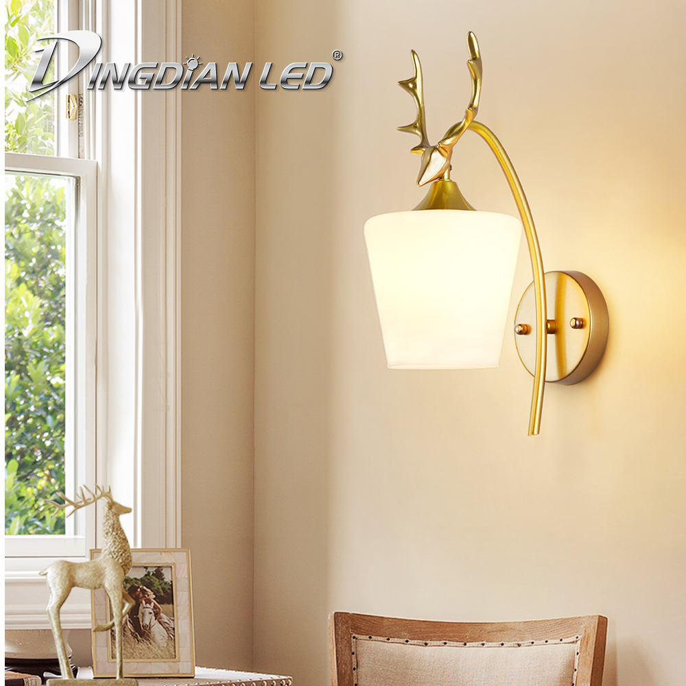 LED Wall Light Metal Wall Lamps Modern Wall Lamps Bed Bedside Light E27 85-265V Glass Lampshade Home Living Room Decor