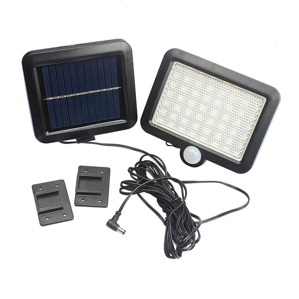 100LEDs Solar Power Outdoor Waterproof Garden Fence Patio Security PIR Infrared Motion Sensor Light Wall Mounted Night Lamp