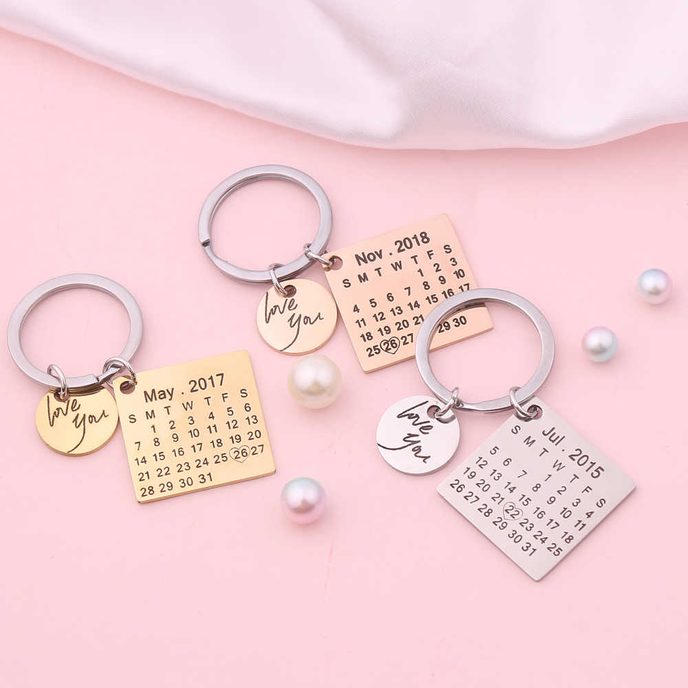Moda personalizada chaveiro calendário llaveros casal chaveiro namorado namorada jóias amante presente transporte da gota
