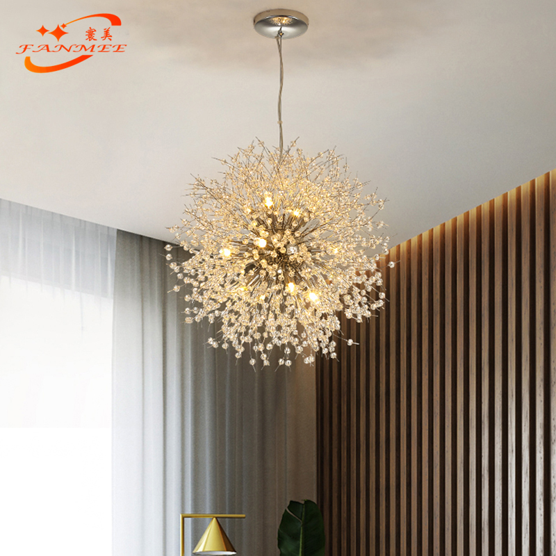 H5989634c4411440480cbd15e4eec97b83 Modern LED Crystal Chandelier Light Pendant Hanging Lamp Dandelion Cristal Chandelier Lighting for Living Dining Room Decoration