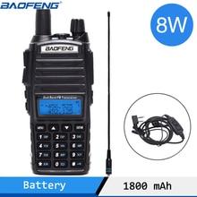 Baofeng UV 82 artı 8 watt güçlü Walkie Talkie 10km uzun menzilli taşınabilir CB telsiz 8W İki yönlü radyo yükseltme UV 82