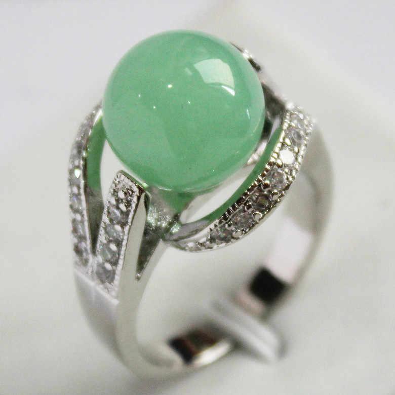 2015 New Light สีเขียว 12 มม.ลูกปัด 18K Platinum Plated Inlay CZ หยกของขวัญแหวนแฟชั่นผู้หญิง