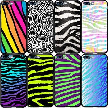 Kolorowe Neon Zebra pokrywy skrzynka dla iPhone 5 5S SE 6 6S 7 8 Plus XR X XS 11 Pro Max Oneplus 3 5T 6T 7T