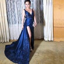 Темно синее вечернее платье Русалка с глубоким v образным вырезом