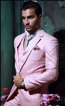 Custom Made Handsome One Button Pink Groom Tuxedos Notch Lapel Best Man Groomsman Men Wedding Suits 3 Pieces custom made men suits fashion groom suits tuxedos black lapel single breasted men wedding suits tuxedos groomsman suits jacket