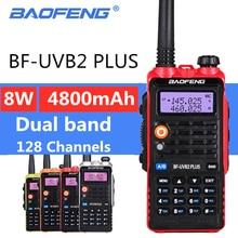 BaoFeng UV B2 플러스 8W 높은 전원 FM 송수신기 4800mah 배터리 BF UVB2 플러스 CB 라디오 모바일 라디오 UVB2 워키 토키 Uv b2