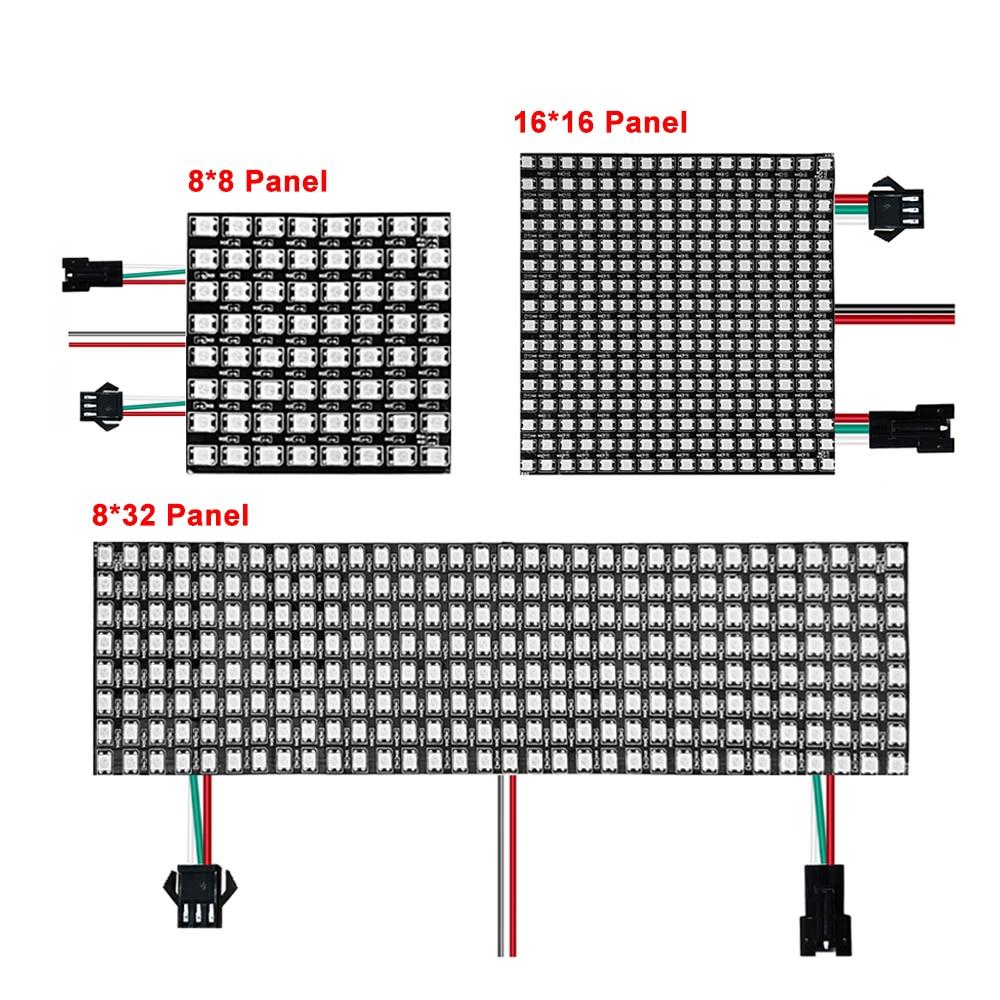 Светодиодная лента , гибкая матрица 5050 RGB , 16*16/8*32 /8*8 64/256 пикселей , 5 в пост. Тока