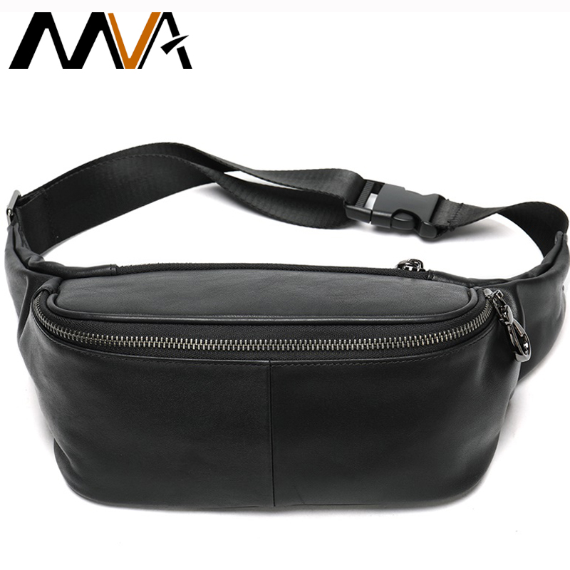 MVA Men's Belt Bag Genuine Leather Men's Waist Bag For Mens Waist Pack Leather Male Fanny Pack Travel Man Chest Bag For Phone