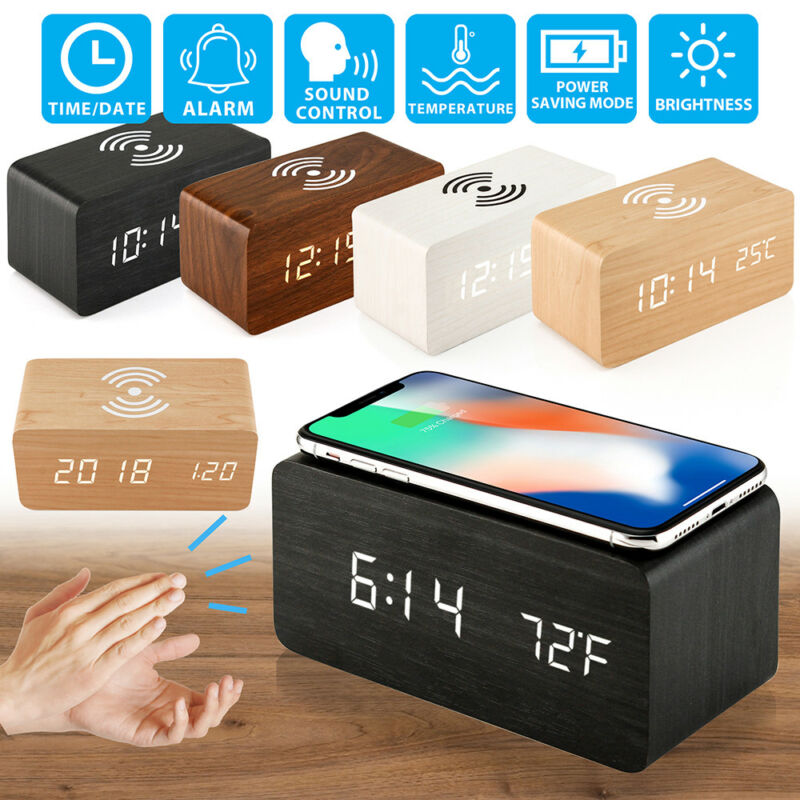 LED Electric Alarm Clock Qi Wireless Phone Charger Charging Pad Station Wireless Charging Digital Clock