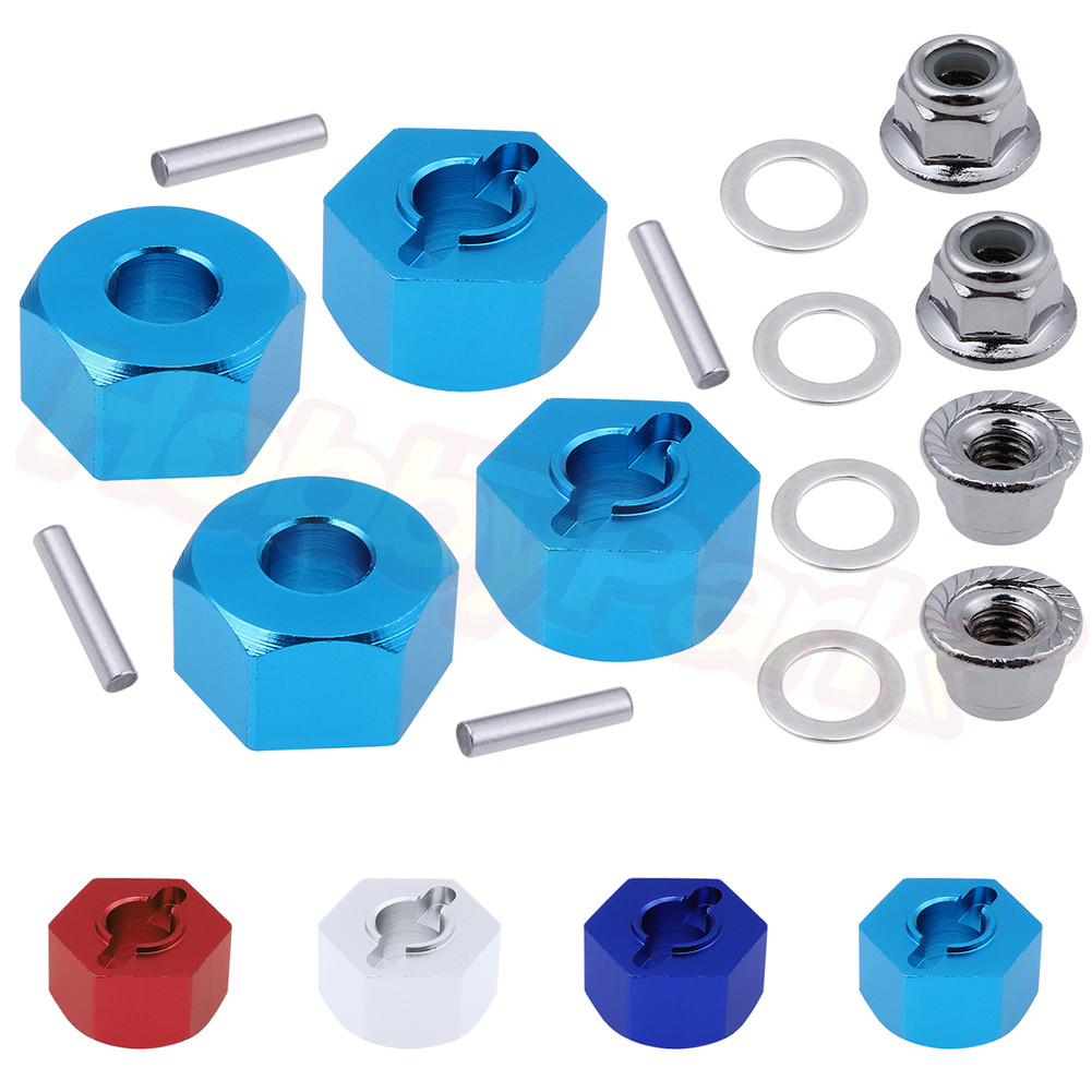 Aluminum Hex Wheel Hubs Pins and M4 Flanged Lock Nuts Washers Set for Traxxas Slash 2WD 1/10 Upgrade Parts Replace 1654 3654(China)