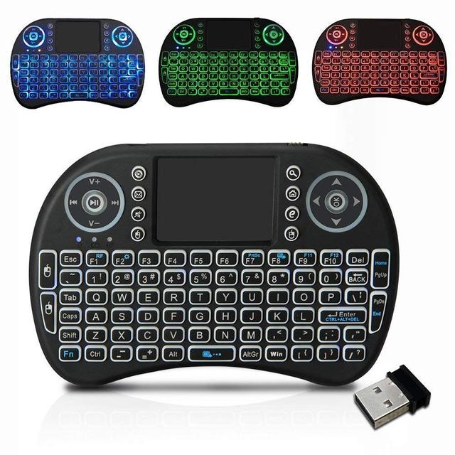 7 color backlit i8 Mini Wireless Keyboard 2.4ghz English Russian Spain Air Mouse with Touchpad 2