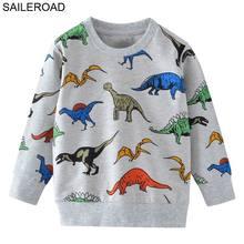 SAILEROAD мультфильм динозавров мальчиков кофты для маленьких детей толстовки одежда 2-7лет осень дети с длинным рукавом рубашки хлопок