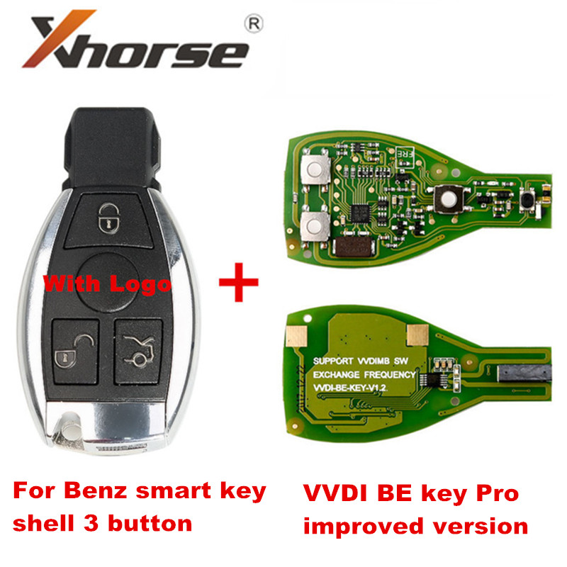 Smart Key Shell 3 Button For Mercedes Benz With Logo Assembling With Original XHORSE VVDI BE Key Pro Improved Version Perfectly