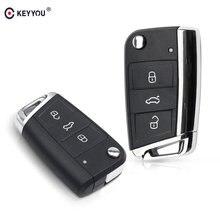 KEYYOU – coque de remplacement pour clé télécommande 3 boutons, pour VW Volkswagen Golf 7 MK7 Skoda Seat Passat Skoda Leon Octavia