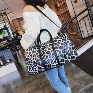 Дорожные сумки и чемодан для женщин, кожаная спортивная сумка, леопардовая сумка, дорожные сумки, ручная кладь, Большая Дорожная Спортивная ...