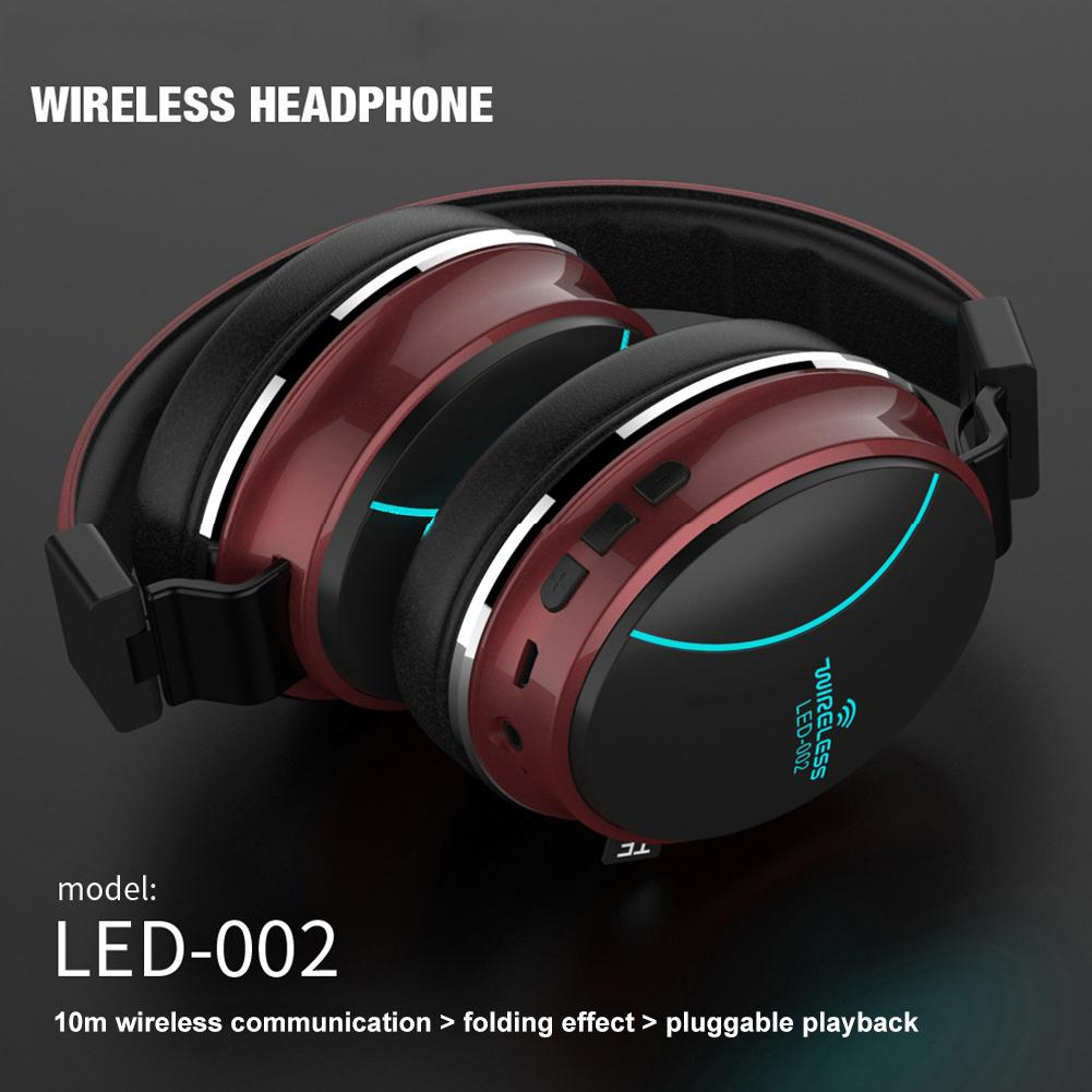 Glowing Bluetooth 5.0 Headset LED Breathing Light Sports Music Foldable Card Headset Gaming Headset 7.1 Channel Gaming Headset image