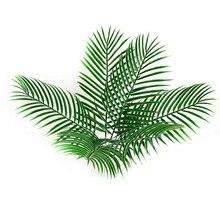 48pcs Plastic Leaves green plants Fake Palm Tree Leaf Greenery for Floral flower Arrangement flore wedding decoration