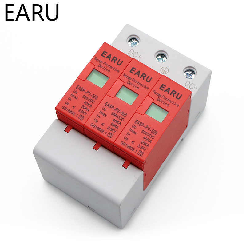 SPD 3P DC 500V 800V 1000V 20 ~ 40KA dispositif de protection contre les surtensions maison photovoltaïque PV système solaire parafoudre parafoudre