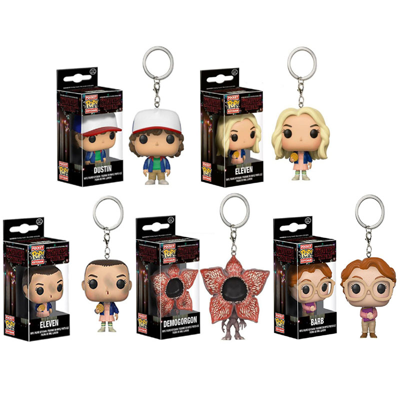 FUNKO POP POCKET KeyChain Stranger Things ELEVEN Demogorgon Dustin Pvc Doll Collection Action Figure Toys For Kid Halloween Gift