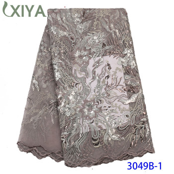 Fashion African French Mesh Lace with Sequins Nigeria Net Lace Fabric Sequence Lace Fabric for Women Sequin Fabric Lace APW3049B
