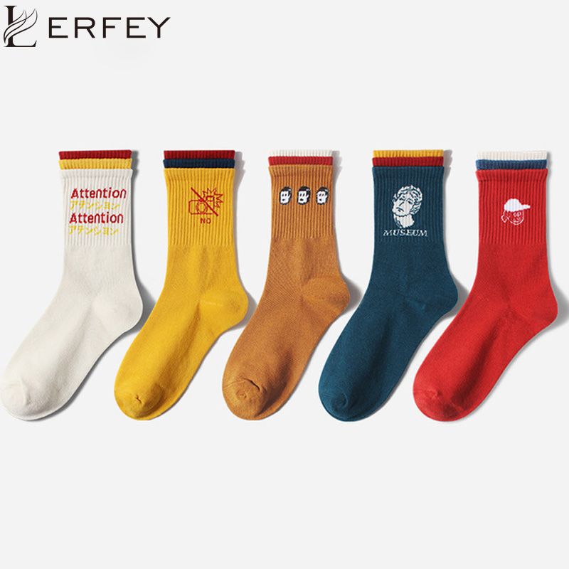 LERFEY Autumn Winter Cotton Women Socks Cartoon Letter Print Sock Unisex Funny Warmth Tube Soft Vintage Lovely Socks