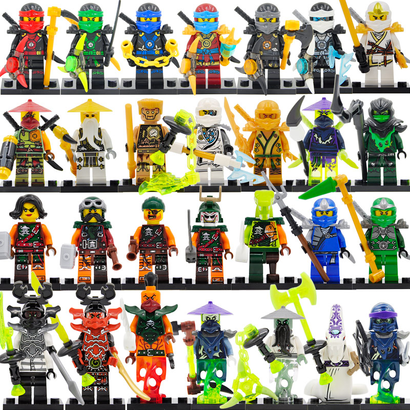 Hot Sale 6pcs/lot Ninja Figure Set Zane Cole Nya Lloyd Block Building Blocks Sets Model Toys For Children Legoing