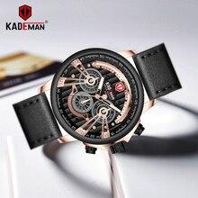 KADEMAN Sport Watches Men Top Luxury Brand Quartz Watch Leather Strap Military Wristwatch Business Male Clocks Relogio Masculino