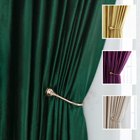4 Colors Luxury Soft Blinds Solid Dark Green/Purple/Golden Velvet Blackout Window Curtains for Living Room Bedroom Drapery|Curtains| |  -