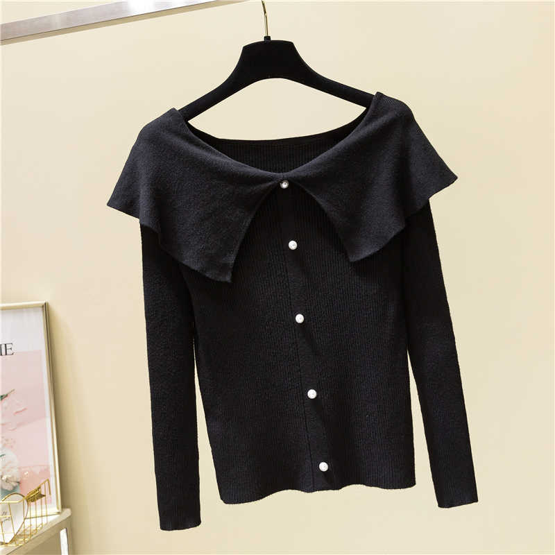 2020 Spring Autumn Women Knitted Sweater Pullovers Pearl Tops Femme Sweater Slim Turn-down Collar Knitted Sweater
