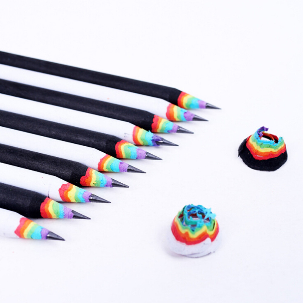 1Pcs Black And White Wood Set Rainbow Pencils Kids Student  Drawing Supplies School Office Stationery