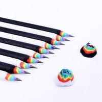 1Pcs Schwarz Und Weiß Holz Set Regenbogen Bleistifte Kinder Student Zeichnung Supplies Schule Büro Schreibwaren auf