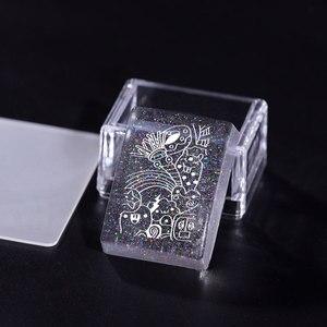 Image 2 - 1 Juego de rasquetas estampador de uñas de silicona, transparente, Asa transparente, para estampado de plantillas, bricolaje, herramientas de manicura