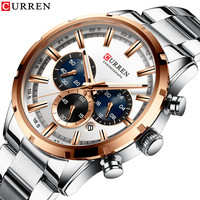 Curren 2019 Modern Stainless Steel Watches for Men Luxury Business Casual Quartz Watch with White Big Dial Date Dropshpping