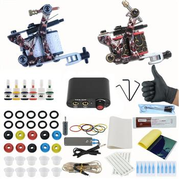 Complete Coil Tattoo Machine Set Tattoo Power Supply Needles Professional 2 Tattoo Machine Kit for Beginner