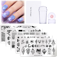 NICOLE DIARY 3pcs/set Nail Stamping Plate Stamper Scraper Geometric Coconut Flower Images Stamp Template  Art Stencil