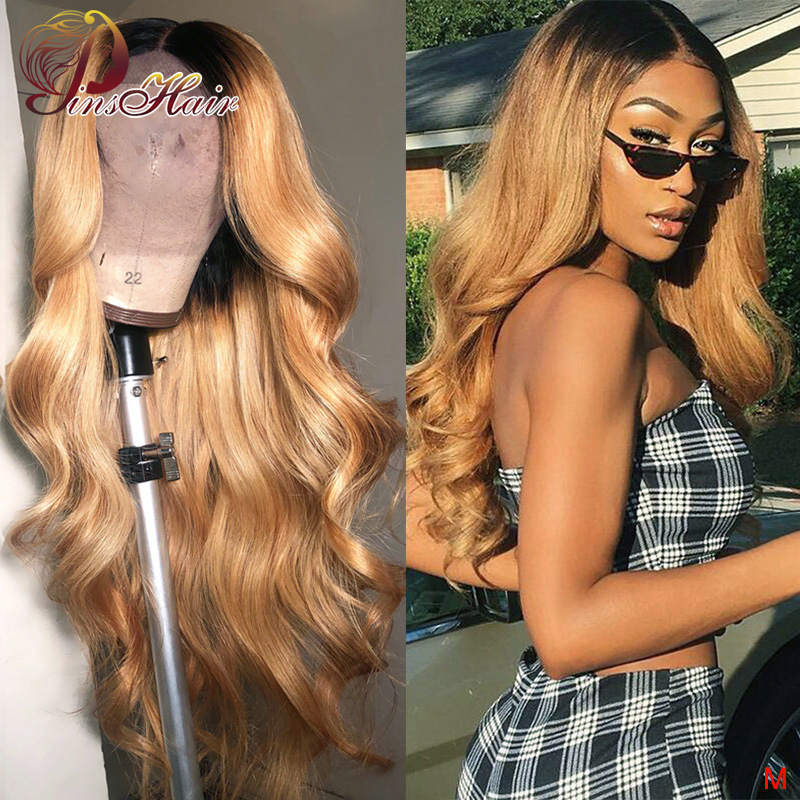 Pinshair 1B/27 Honey Blonde Lace Front Human Hair Wigs 150% Peruvian Body Wave Non-remy Ombre 13x4 Lace Front Wig Pre Plucked