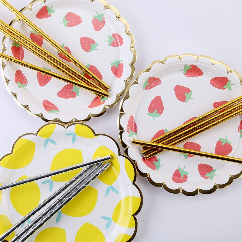 Lemon Strawberry Cup Disposable Plates Cup With Straw Paper Plates Dishes And Plates Sets Disposable Party Tableware