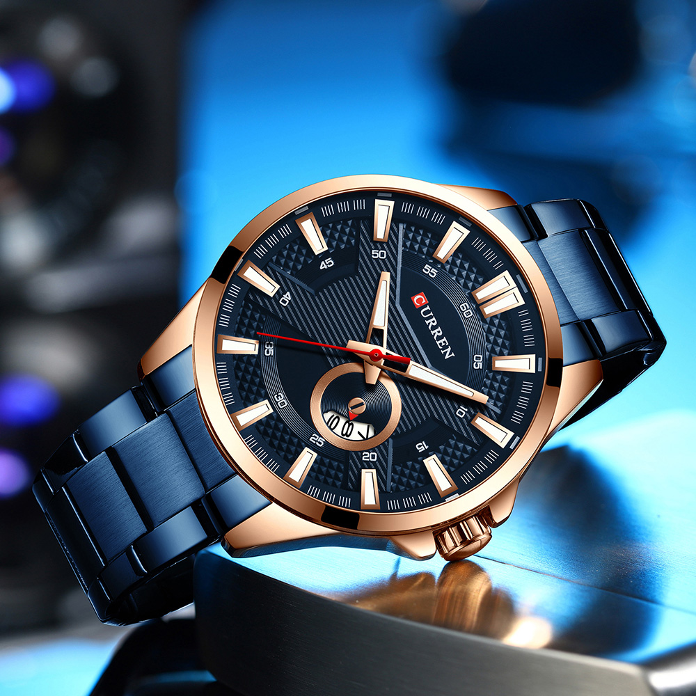 H598abbf008904396ae0e36bf4c8f36f9v New Stainless Steel Quartz Men's Watches Fashion CURREN Wrist Watch Causal Business Watch Top Luxury Brand Men Watch Male Clock