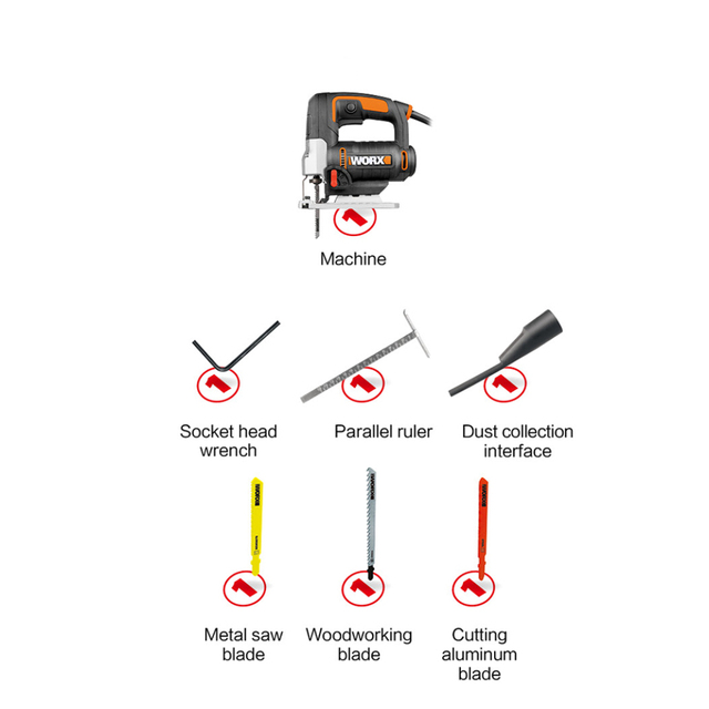 Worx Electric jigsaw WX478.1 650W Scroll Saw Mini Electric Tools Variable Speed Saw Household Power Tools +Dust Blower &Tool box 6