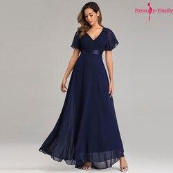 Beauty-Emily, Простые Вечерние платья, элегантное шифоновое вечернее платье с v-образным вырезом и оборками, вечернее платье, платье для вечеринки...